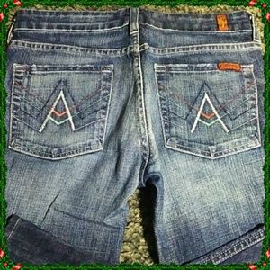 7 For All Mankind 27 Pink Blue A Pocket Bootcut
